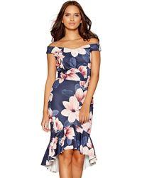 c93e09ff7c0c River Island Navy Polka Dot Floral Tea Dress in Blue - Lyst