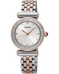 Seiko - Ladies Stainless Steel/two Tone 3-hand Bracelet Watch Srz466p1 - Lyst