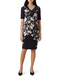 Hobbs - Navy Floral 'astraea' V Neck Shift Dress - Lyst