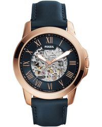 Fossil - Men's Blue Leather Strap Watch - Lyst
