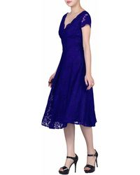 Jolie Moi - Royal Cap Sleeves Fit & Flare Lace Dress - Lyst