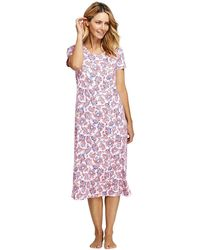 Lands' End - Pink Supima Patterned Short Sleeve Calf-length Nightdress - Lyst
