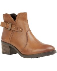Lotus - Tan Leather 'tapti' Mid Block Heel Ankle Boots - Lyst