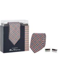 Ben Sherman - Multi-coloured Silk Dogtooth Tie And Cufflinks Set - Lyst