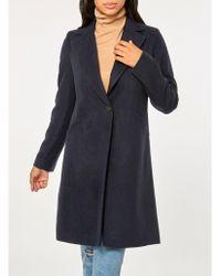 Dorothy Perkins - Navy Single Breasted Coat - Lyst
