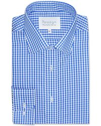 Double Two - Big And Tall Blue Checked Single Cuff 100% Cotton Shirt - Lyst