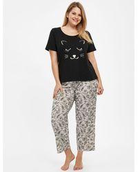 Evans - Black Lace Printed Nightwear - Lyst