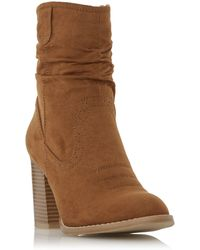 Dune - Tan 'railey' Western Slouch Calf Boot - Lyst