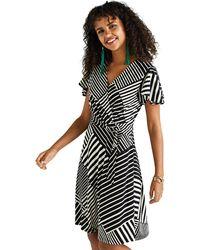 Yumi' - Black Diagonal Stripe Wrap Dress - Lyst
