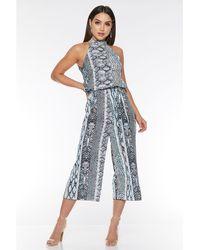 Quiz - Blue And Cream Snake Print Halterneck Jumpsuit - Lyst