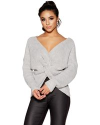 Quiz - Light Grey Knitted Knot Front Long Sleeve Jumper - Lyst