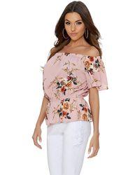 Quiz - Pink Crepe Floral Bardot Top - Lyst