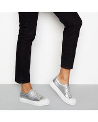 Faith - Silver Metallic Lace-up Flatform Trainers - Lyst