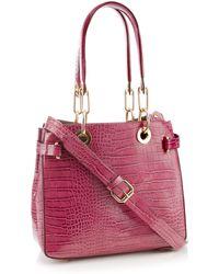 Faith - Plum Croc Effect Faux Leather Grab Bag - Lyst