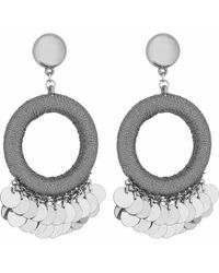 Red Herring - Silver Sequin Charm Hoop Drop Earrings - Lyst