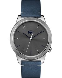 Lacoste - Men's Blue Analogue Leather Strap Watch - Lyst