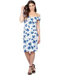 Izabel London - Blue Floral Print Shift Dress - Lyst