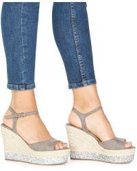 Faith - Grey 'liddy' High Wedge Heel Ankle Strap Sandals - Lyst