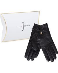 J By Jasper Conran - Black Leather Branded Strap Gloves In A Gift Box - Lyst