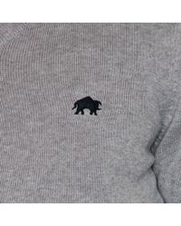 Raging Bull - Grey Cotton And Cashmere Blend Crew Neck Jumper - Lyst