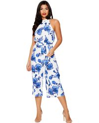 Quiz - Blue And White Floral Print Jumpsuit - Lyst