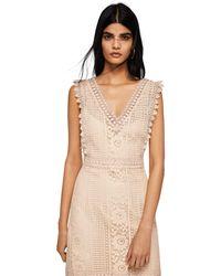 Mango - Cream Cotton Blend 'saray' V-neck Midi Dress - Lyst