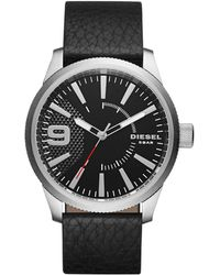DIESEL - Men's Rasp Black Leather Strap Watch Dz1766 - Lyst