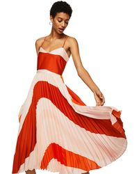 Mango - Pink And Red Pleated 'dancer' V-neck Midi Dress - Lyst