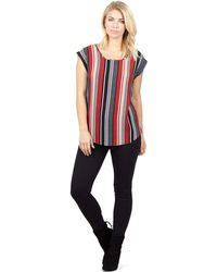 Izabel London - Red Striped Longline Top - Lyst