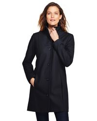 Lands' End - Black Fit And Flare Wool Blend Coat - Lyst