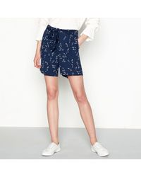 Minimum - Navy Leaf Print Chiffon 'bergliot' Loose Fit Shorts - Lyst