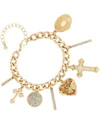 Red Herring - Gold Crystal Charm Bracelet - Lyst