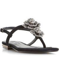 Dune - Black 'mulligan' Jewel Floral Brooch Sandals - Lyst