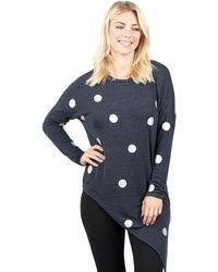 Izabel London - Navy Long Sleeve Asymmetric Hem Tunic - Lyst
