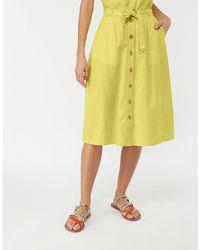 Monsoon - Yellow 'primrose' Linen Skirt - Lyst