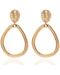 Anne Klein - Gold Tone Drop Hoop Clipped Earrings - Lyst