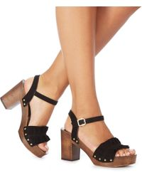 a225ee66f2e072 Faith - Black Suede  dani  High Block Heel Ankle Strap Sandals - Lyst