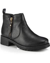 Faith - Black Leather 'bea' Mid Block Heel Ankle Boots - Lyst