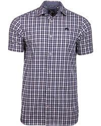 Raging Bull - Short Sleeve Linen Look Check Navy Shirt - Lyst