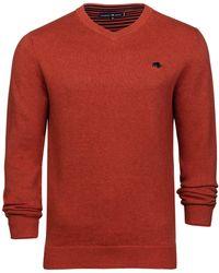 Raging Bull - Orange V-neck Cotton And Cashmere Jumper - Lyst