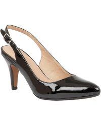 Lotus - Black Patent 'nadia' Mid Heel Slingbacks - Lyst