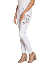 Yumi' - White Floral Embroidered Skinny Jeans - Lyst