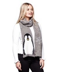 Yumi' - Grey Knitted Penguin Scarf - Lyst