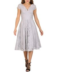 Jolie Moi - Grey Cap Sleeve Scalloped Lace Dress - Lyst