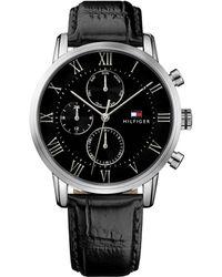 Tommy Hilfiger - Gents Black Leather Strap Watch 1791401 - Lyst
