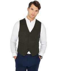 Racing Green - Dark Green Herringbone Wool Blend Waistcoat - Lyst