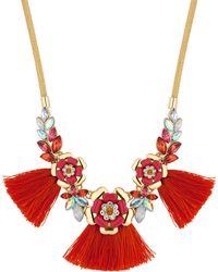 Red Herring - Floral Cluster Tassel Necklace - Lyst
