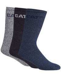 Caterpillar - Pack Of Three Blue And Navy Boot Socks - Lyst