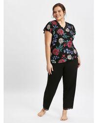 Evans - Black Jewel Floral Pyjama Set - Lyst