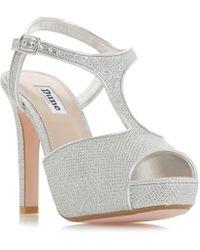 Dune - Silver 'marleigh' High Stiletto Heel T-bar Sandals - Lyst